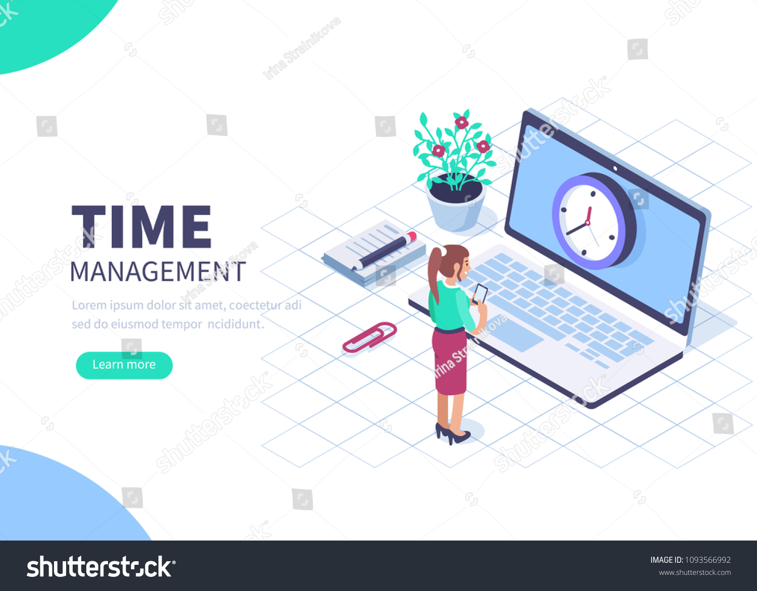 Time Management Banner Character Text Place Stock Vector Royalty Free 1093566992