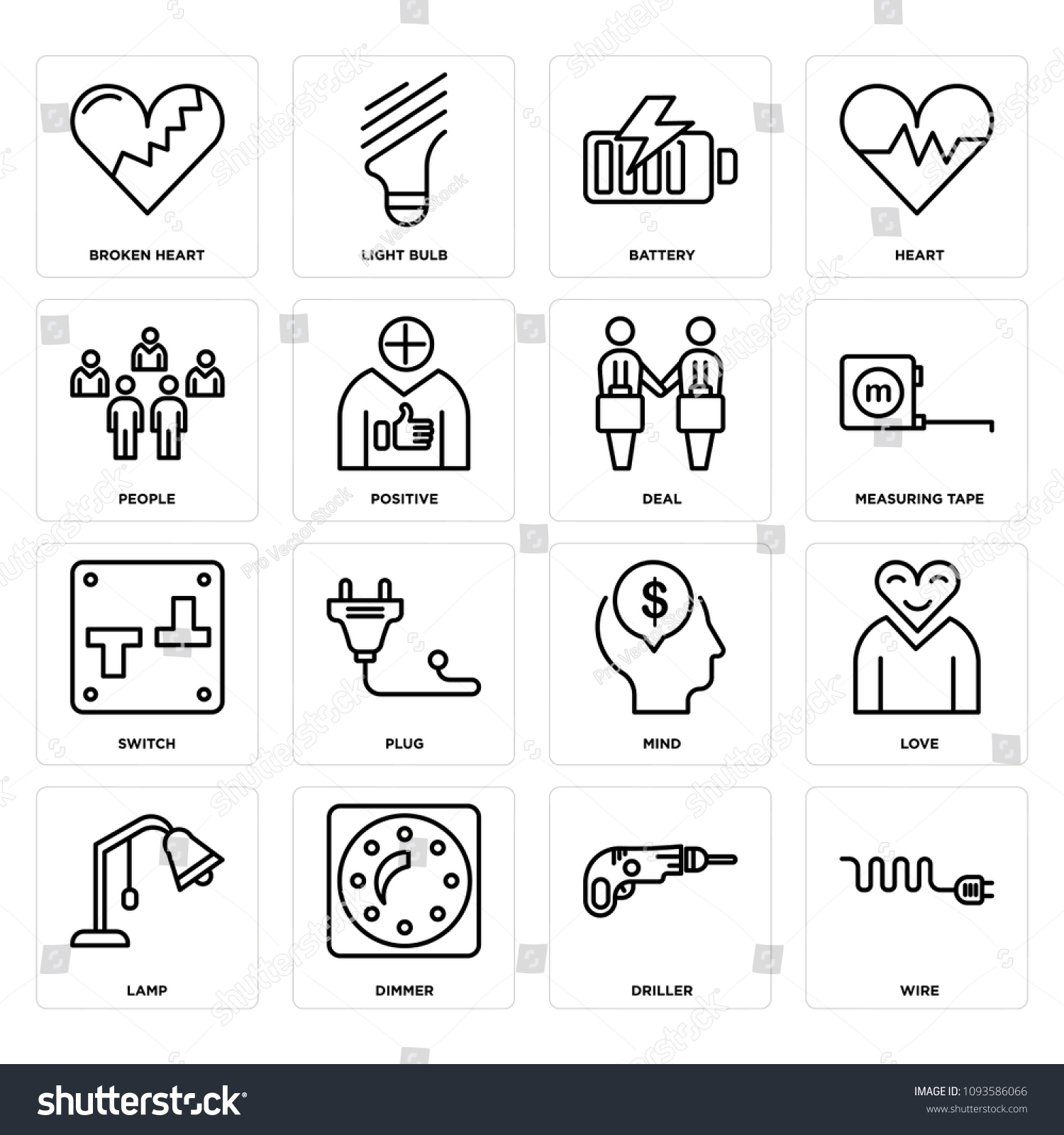 Set 16 Simple Editable Icons Such Stock Vector Royalty Free Wiring A Dimmer Switch To Lamp Of As Wire Driller
