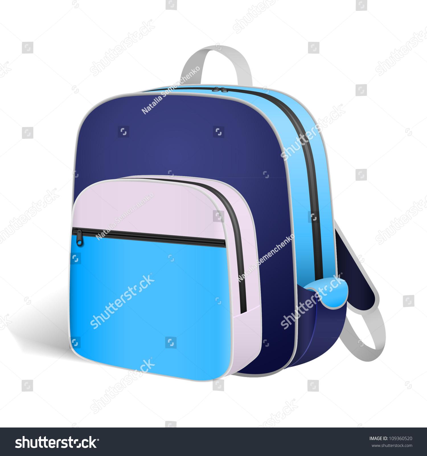 Blue Book Bag Backpack School Stock Vector 109360520