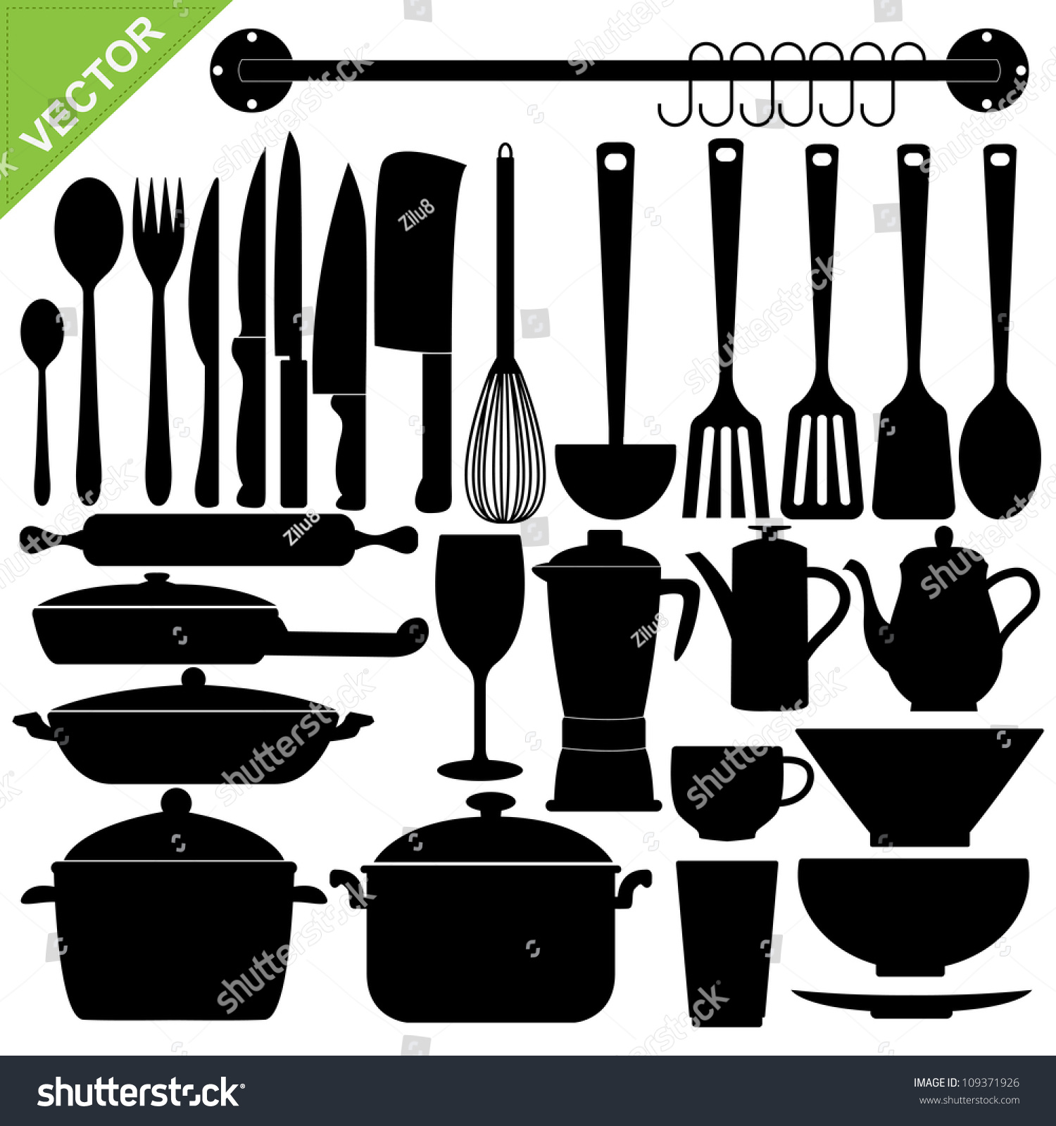 Set Kitchen Tools Silhouettes Vector Stock Vector ...