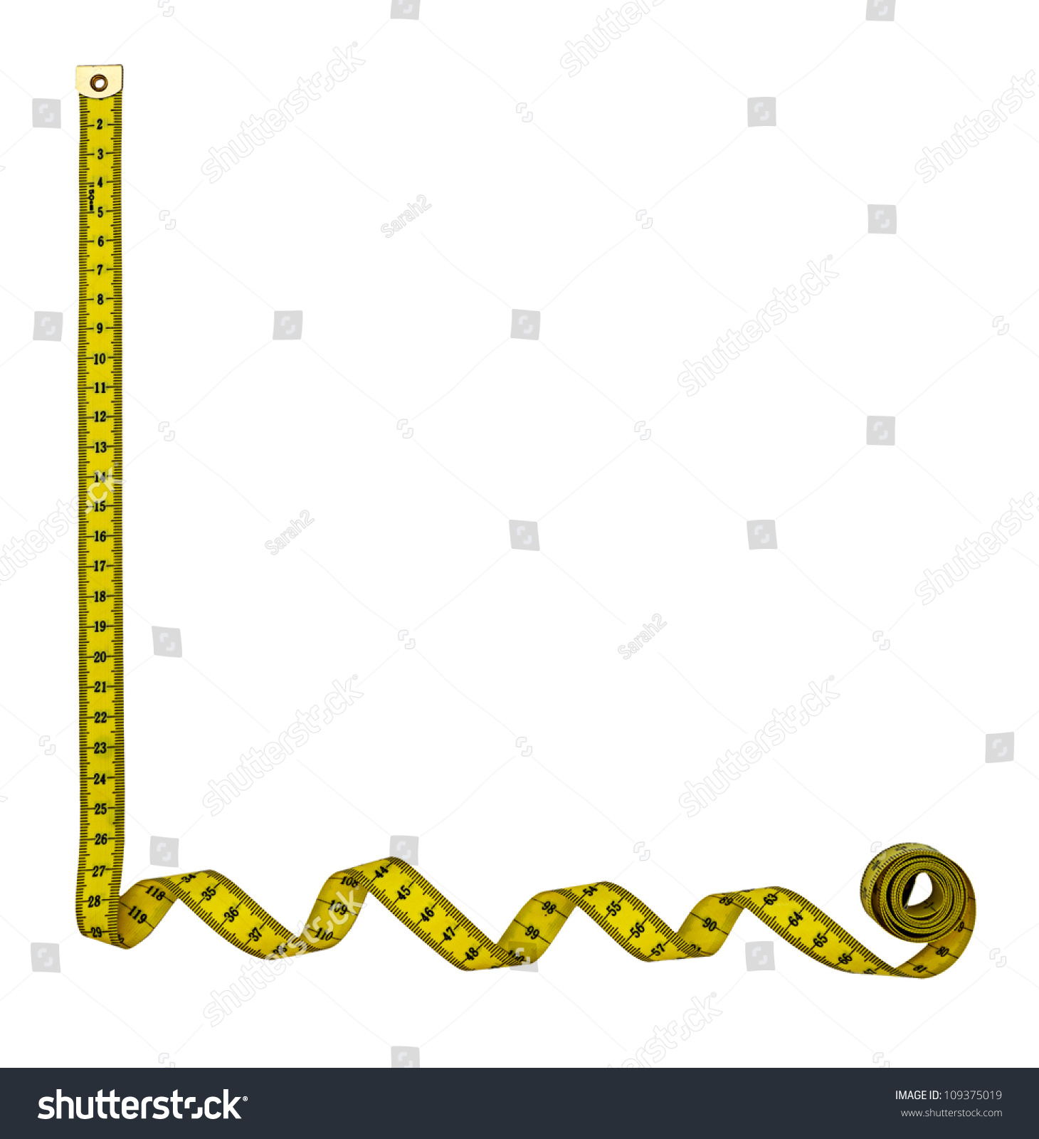 Vector of tape measure border a page border created from a rag tape - Tape Measure Border Frame Left Hand Corner Isolated Over White