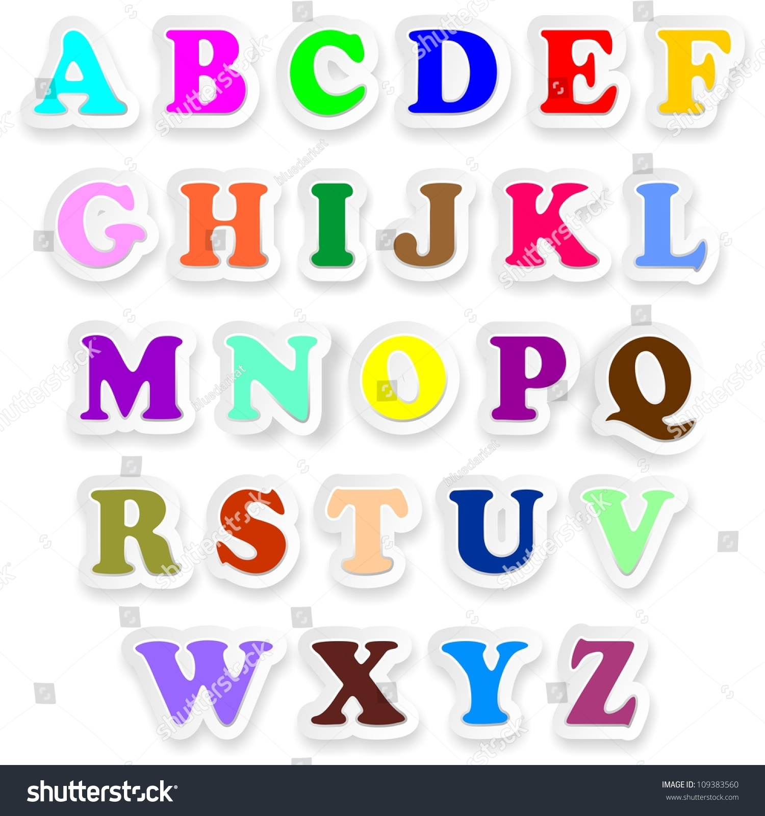 Alphabet Letters Fonts Uppercase Colors Stickers Stock Illustration