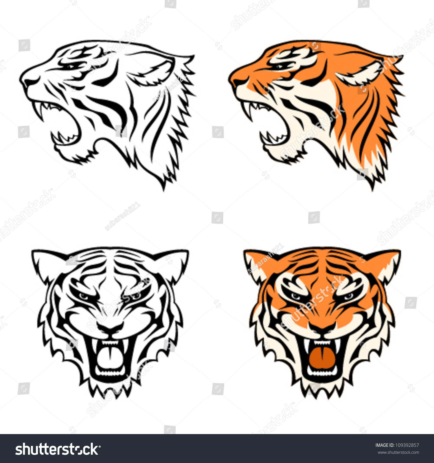 Line Drawing Of Tiger Face : Simple line illustrations tiger head profile stock vector