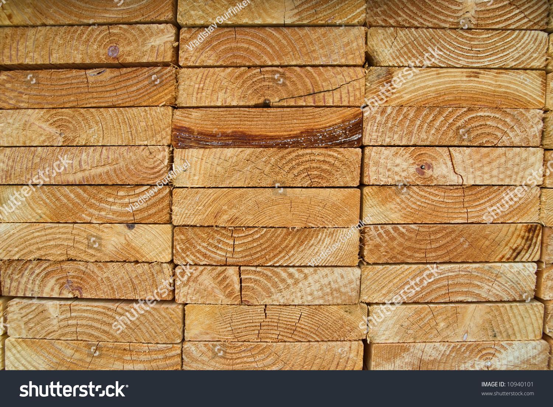 Stack wood planks on lumber yard stock photo