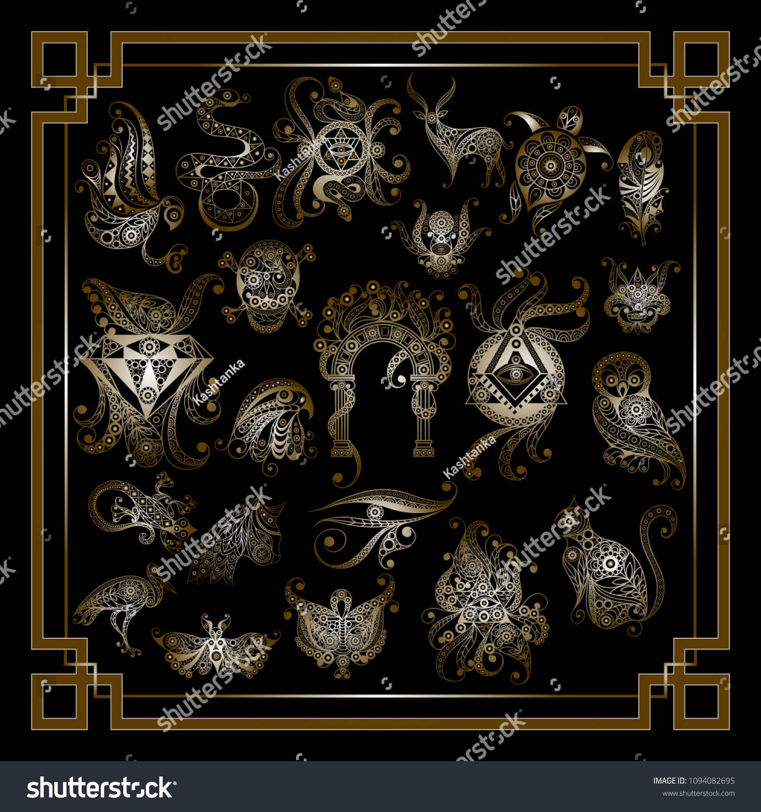 Graphic Abstract Design Occult Symbolsset Masonic Stock Vector