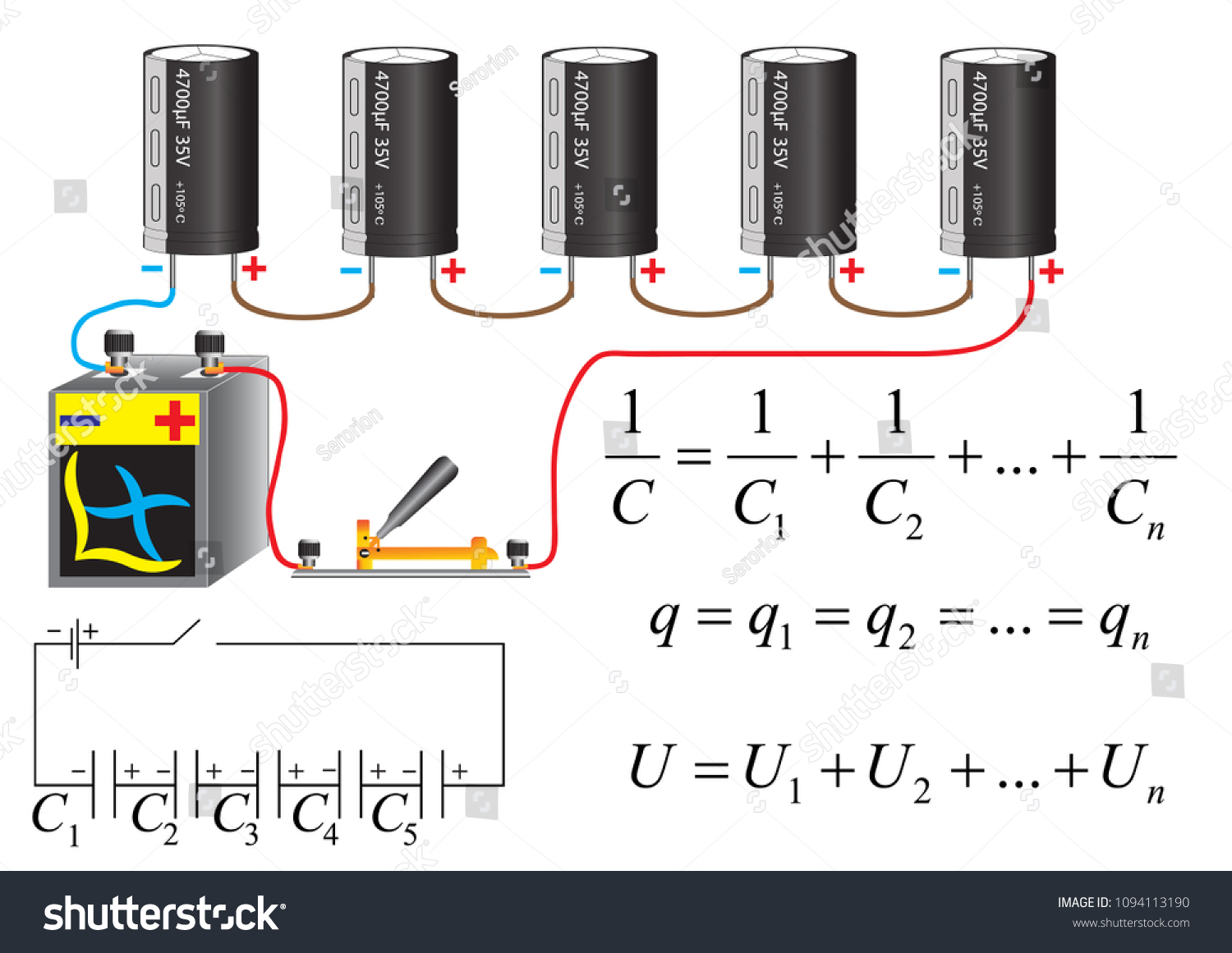 Electric Circuit Series Connection Capacitors Physical Stock Vector The Of A Formulas For Calculation Parameters