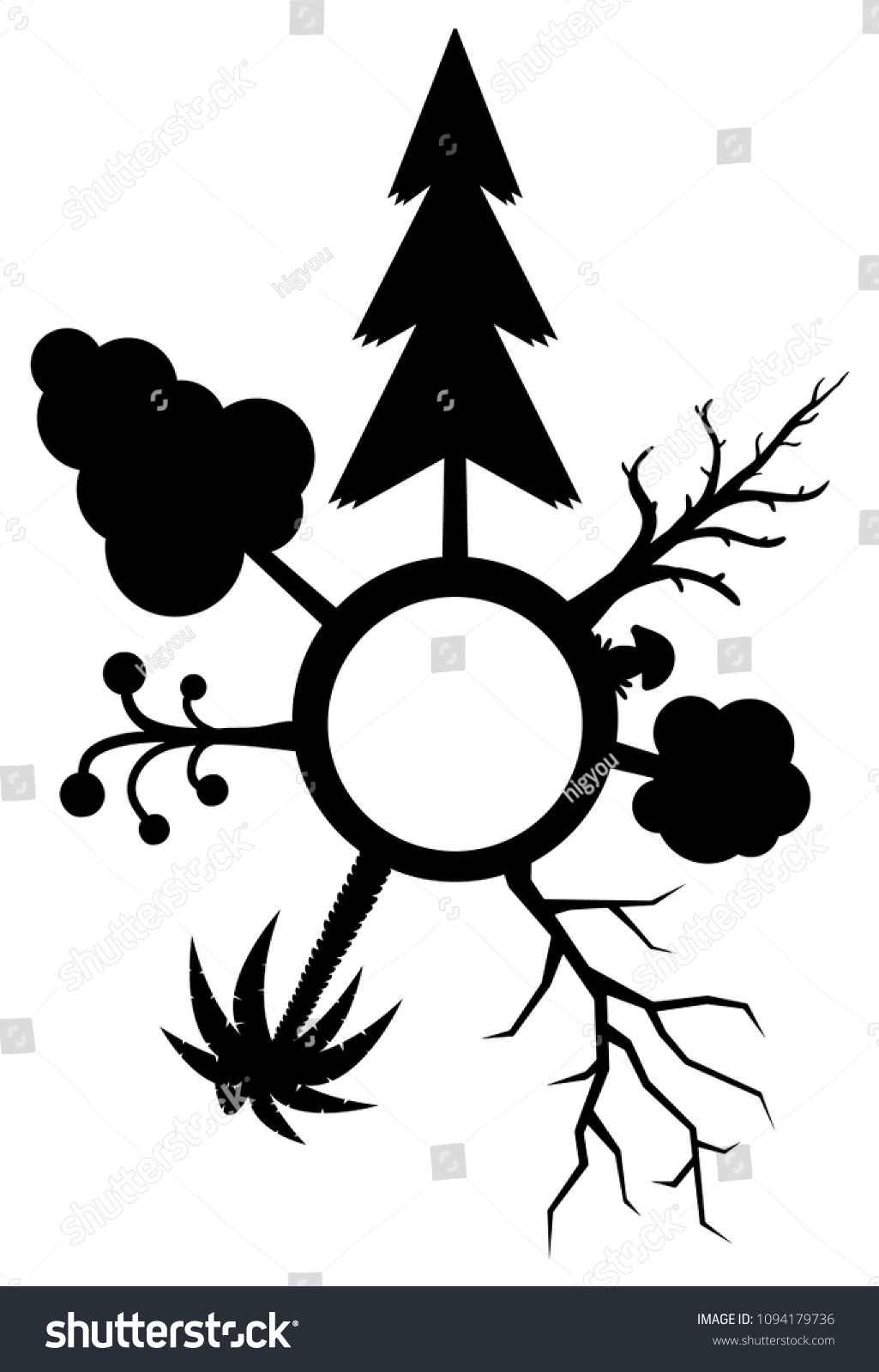Different Trees Silhouettes Circle Symbol Stencil Stock Vector ...