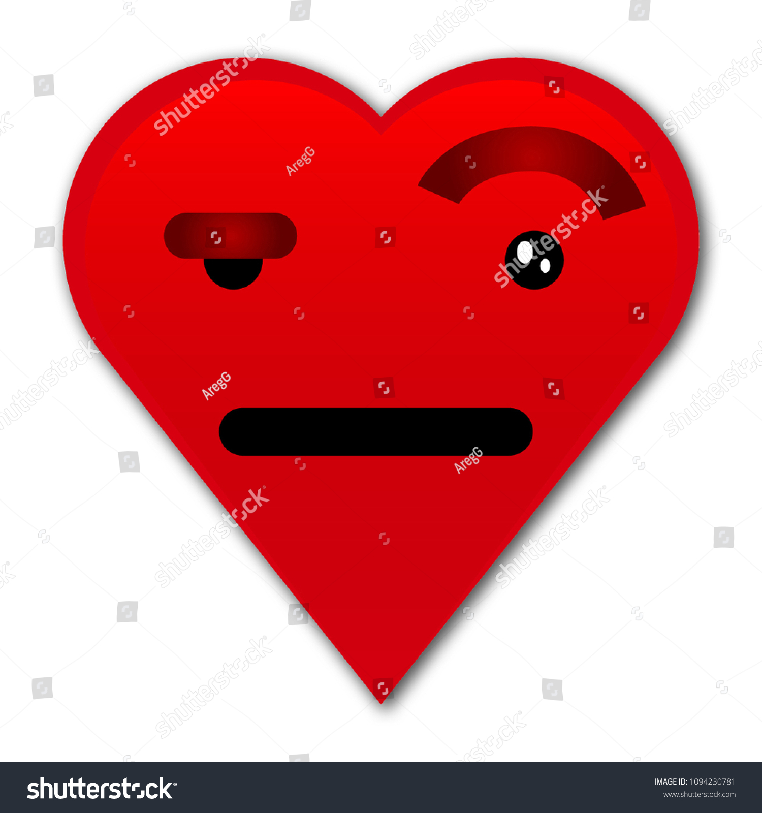 Heart One Eyebrow Raised Emoji Stock Vector Royalty Free