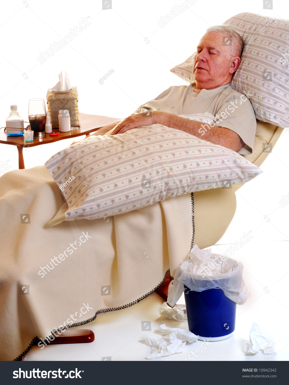 Senior man sick with a cold or flu resting in a recliner while surrounded by  sc 1 st  Shutterstock & Senior Man Sick Cold Flu Resting Stock Photo 10942342 - Shutterstock islam-shia.org