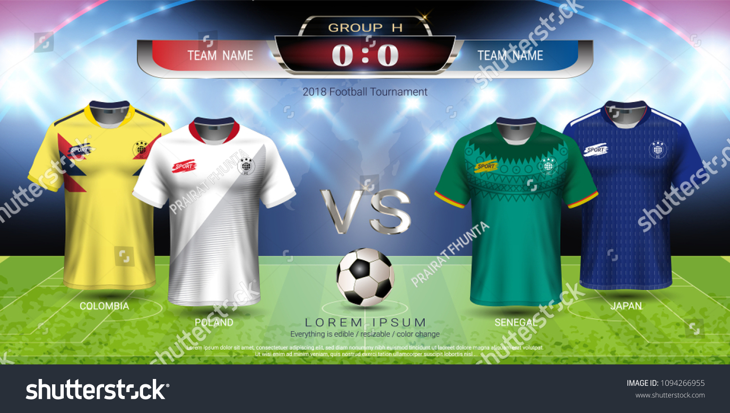 dce3053fc1c Football players jersey uniform with scoreboard match vs strategy broadcast  graphic template