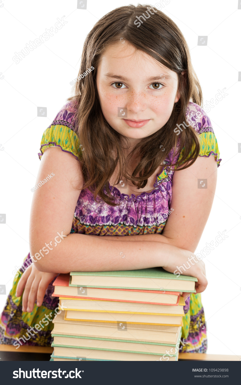 10 Cute Guys With Blonde Hair: Cute 10 Year Old Girl Leaning On A Stack Of Books Isolated