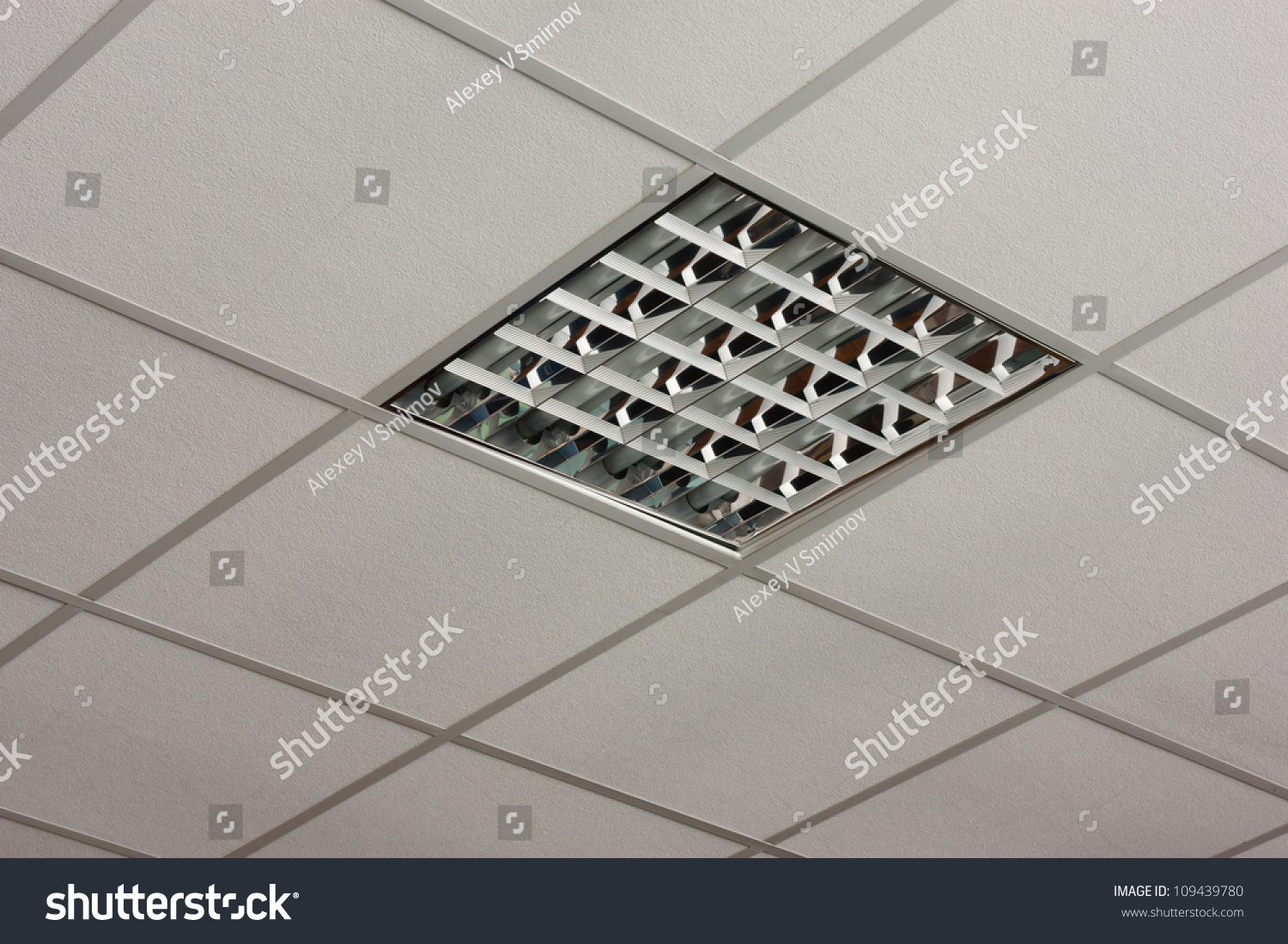 Awesome Fluorescent Office Ceiling Lamp Built In On The White Ceiling Close Up View