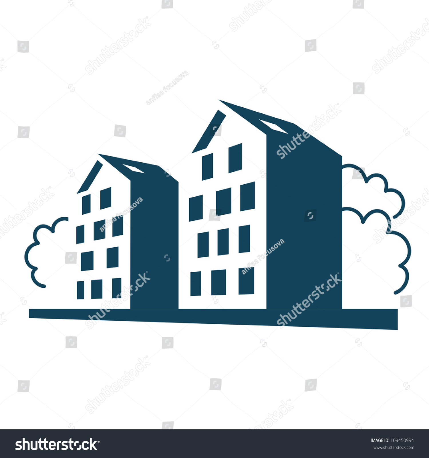 Real Estate Development Icon : Vector illustration group apartment houses simple stock