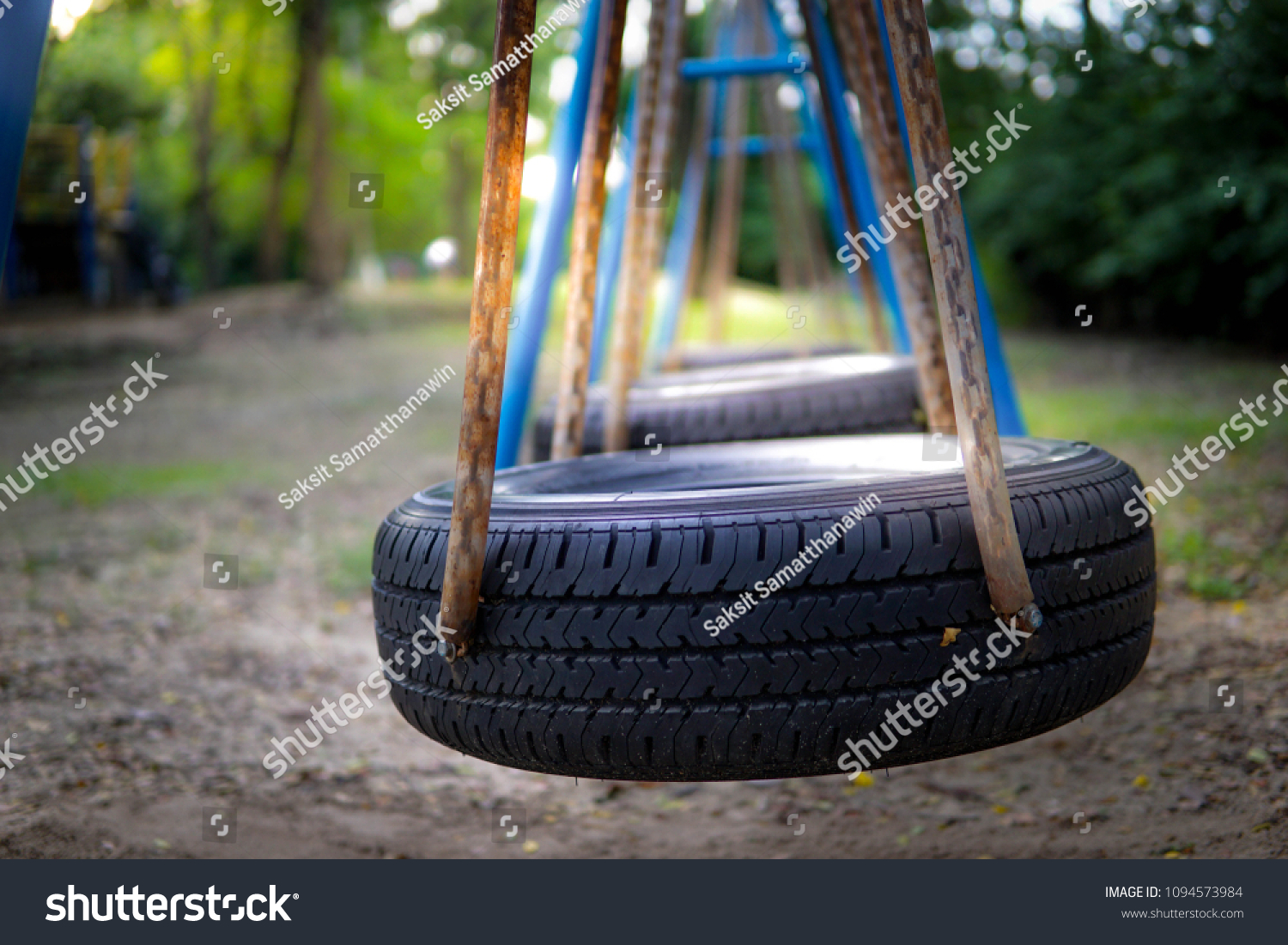 Car Tire Used Kids Swing Park Stock Photo Edit Now 1094573984