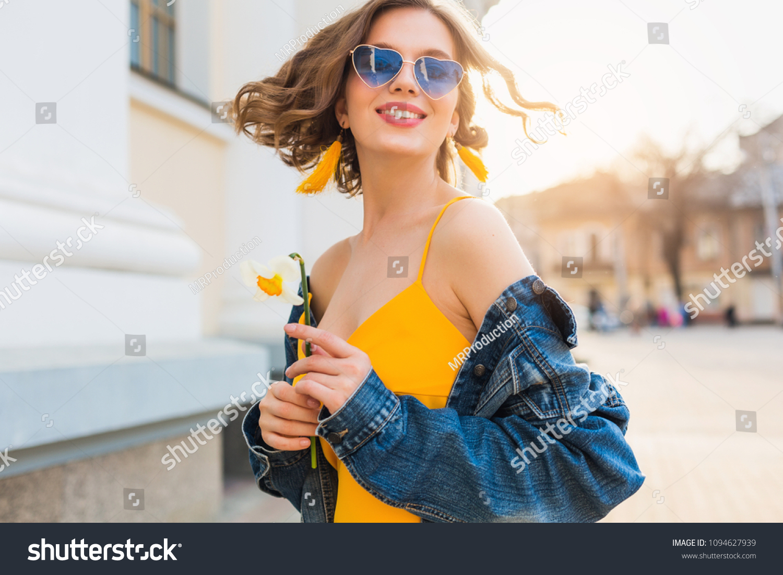 827a752aa9 Beautiful Woman Waving Hair Smiling Stylish Stock Photo (Edit Now ...