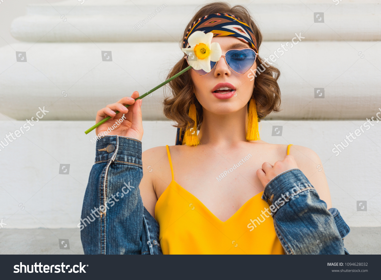f57c21c8a0 Beautiful Sexy Woman Yellow Stylish Dress Stock Photo (Edit Now ...