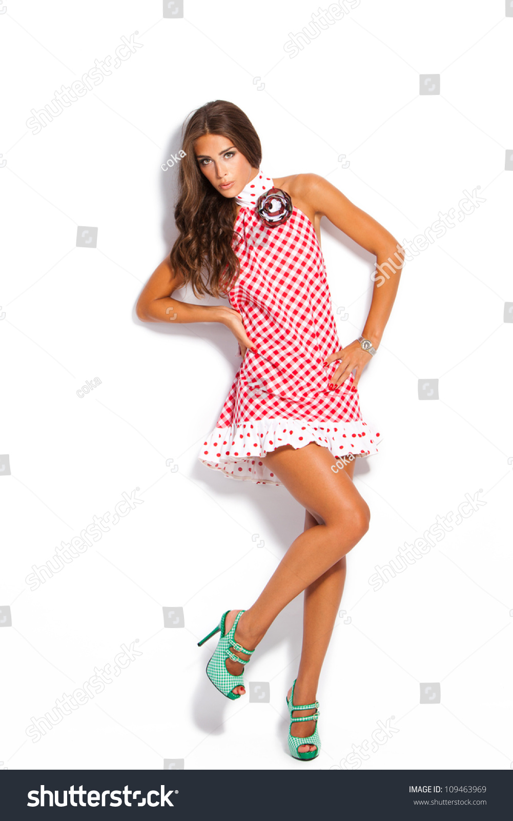 Young Fashion Model Summer Dress High Stock Photo