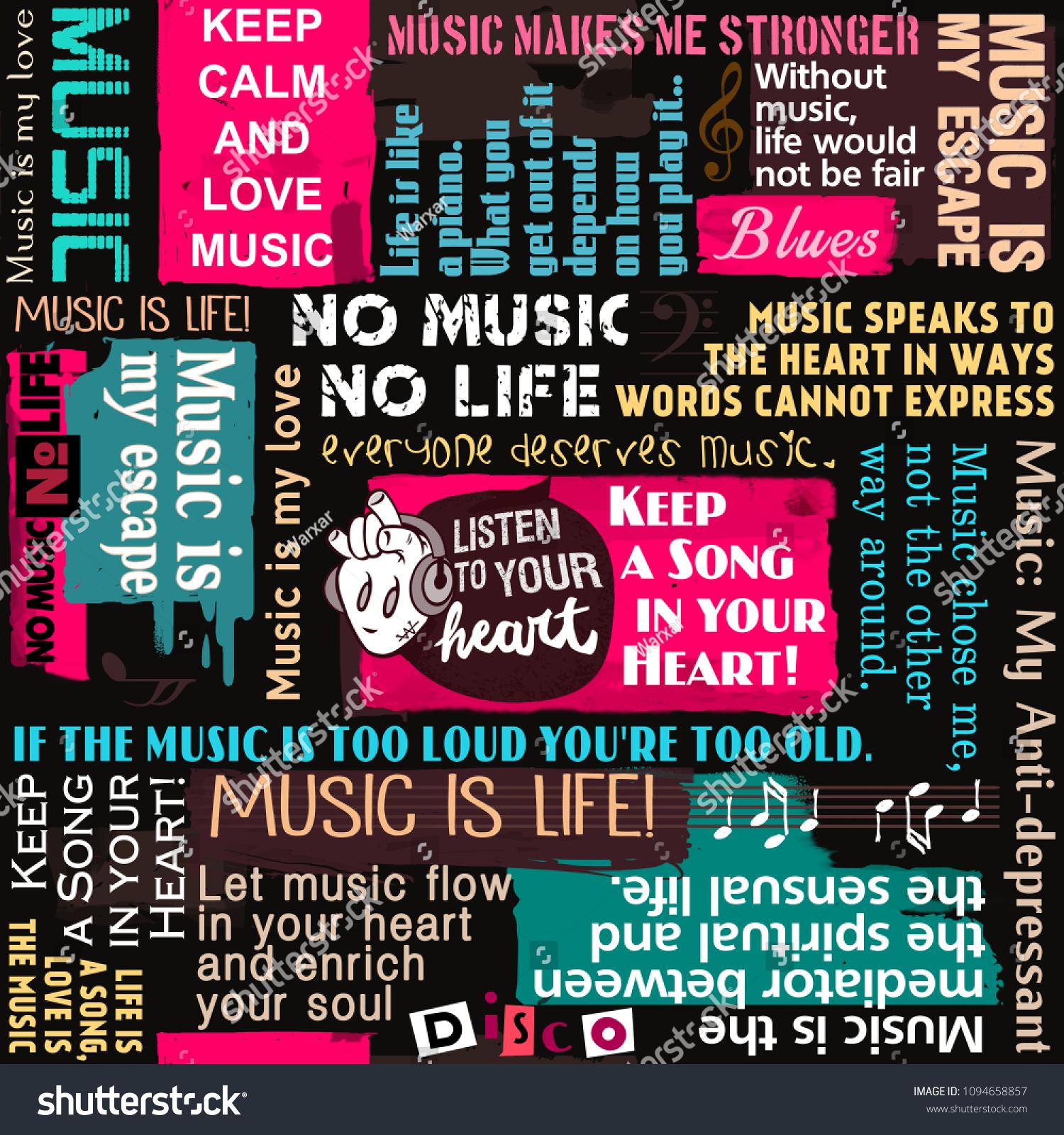 Music Background Seamless Pattern Collage Wallpaper Illustration De