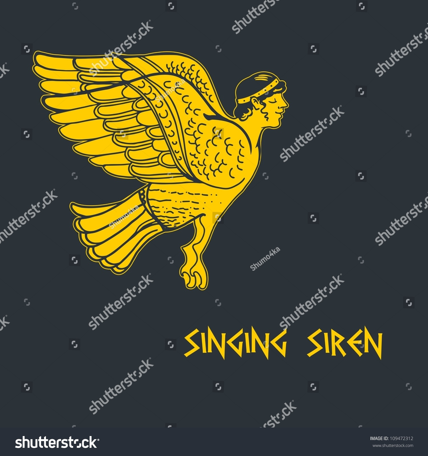 Greek art singing siren ancient greece stock vector 109472312 greek art singing a siren ancient greece painted on a vase iliad biocorpaavc Images