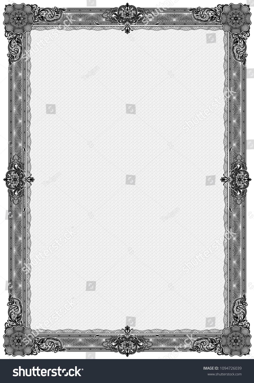 Simple Black White Certificate Frame Border Stock Vector 1094726039 ...
