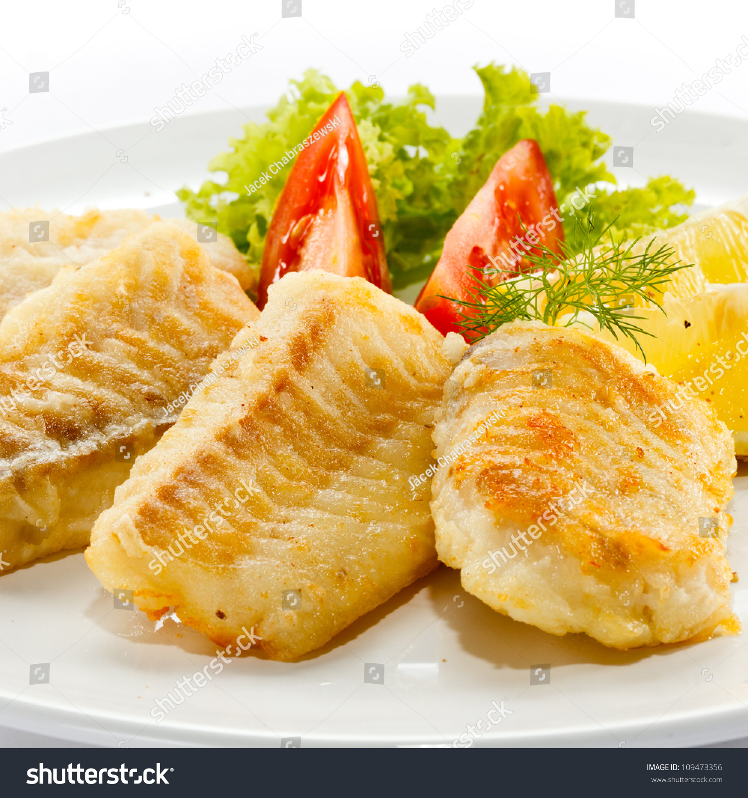 Fish Dish Fried Fish Fillet Vegetables Stock Photo