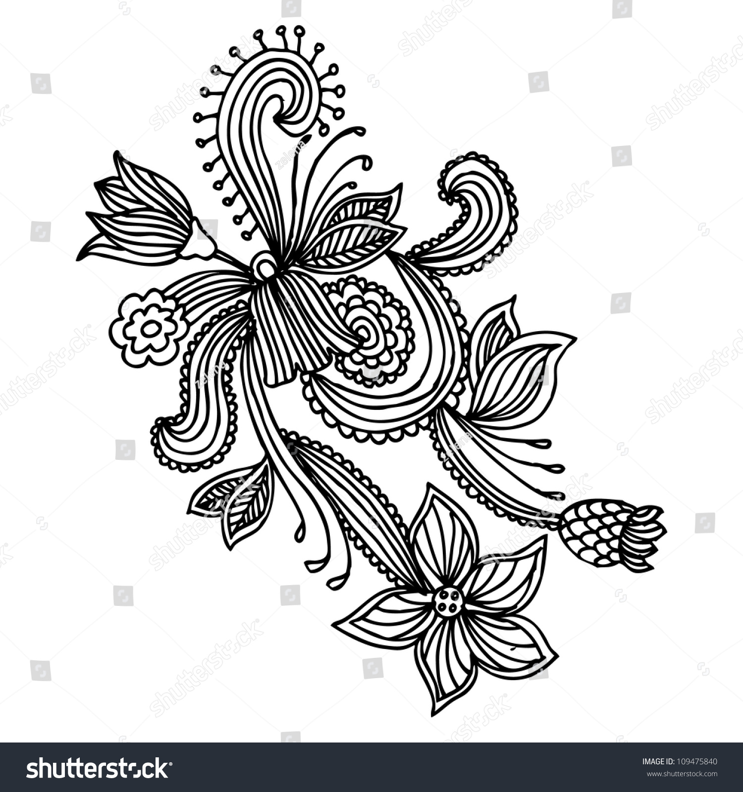 Line Art Flower Vector : Hand draw line art ornate flower stock vector