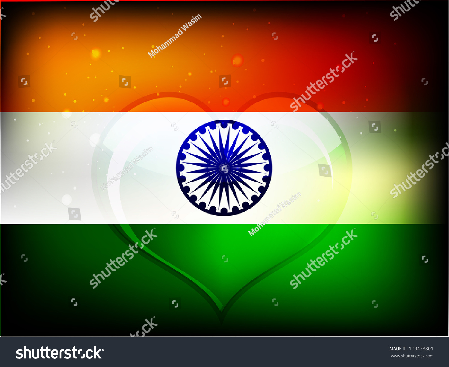 Beautiful Heart Indian Flag Design Republic Stock Vector Royalty