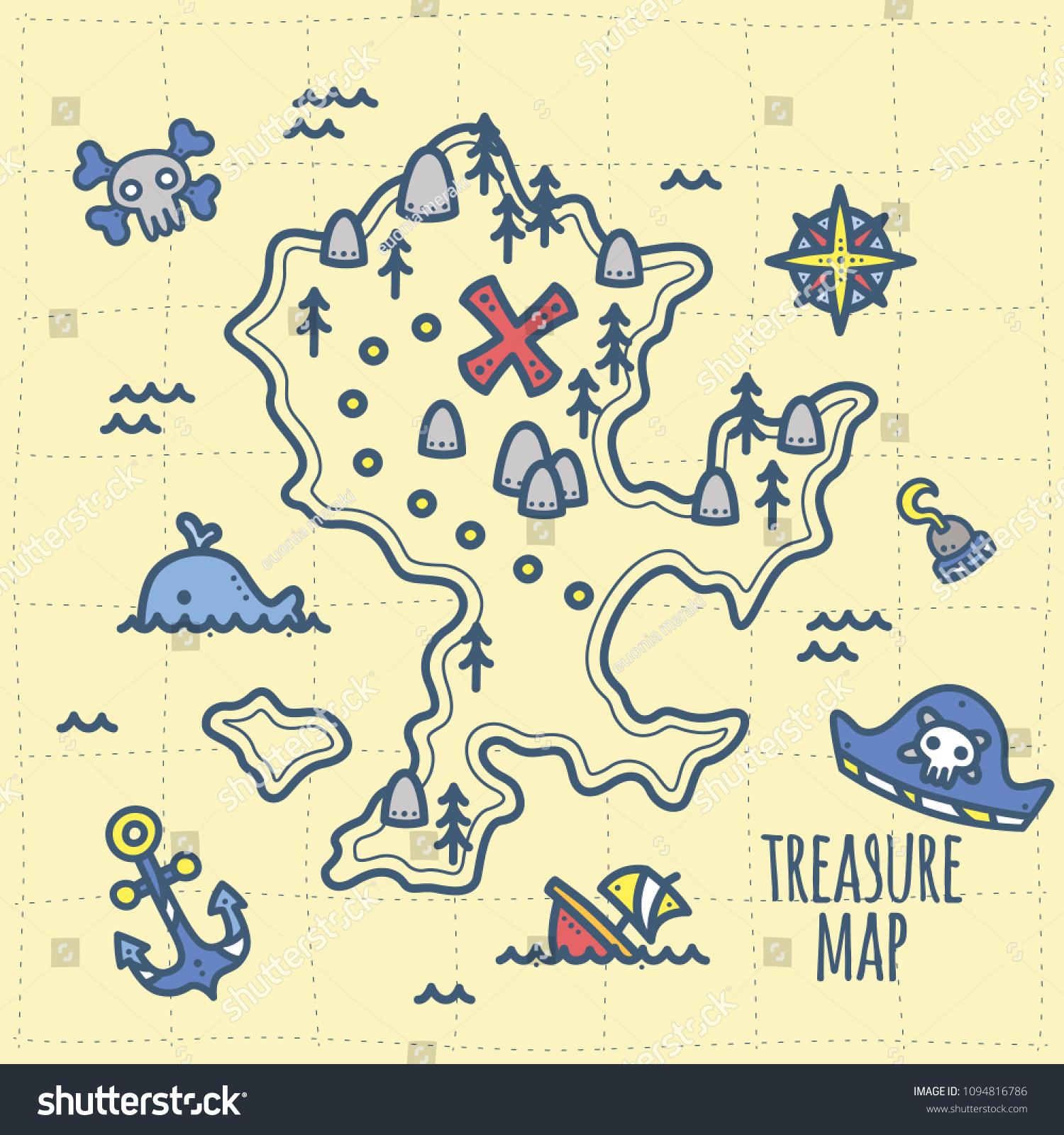 Cute Pirate Theme Graphics Treasure Adventure Stock Vector ...