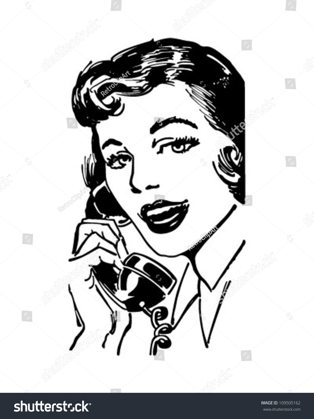 Telephone Gal - Retro Clipart Illustration - 109505162 : Shutterstock