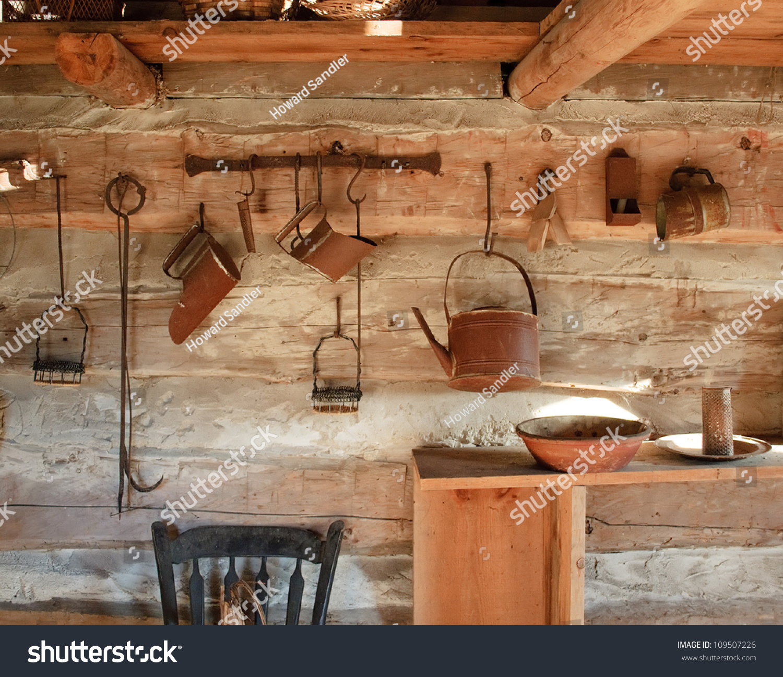 Kitchen Rack Utensils Log Cabin 1800s Stock