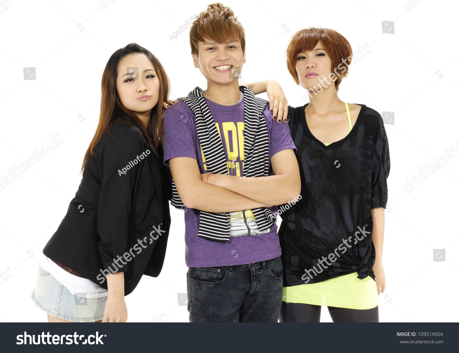 Three Young Happy Friends. Two Girls One Boy Smiling Stock