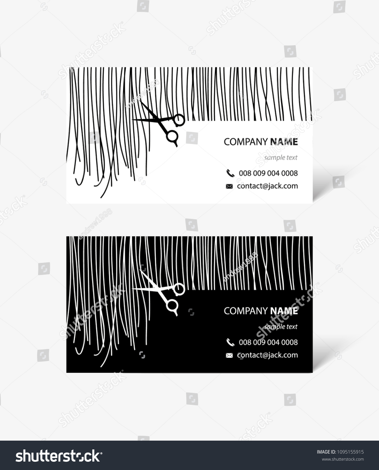Hair Stylist Business Cards Hair Scissors Stock Vector Royalty Free