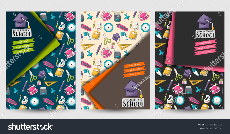 back school set flyers printable brochure のベクター画像素材