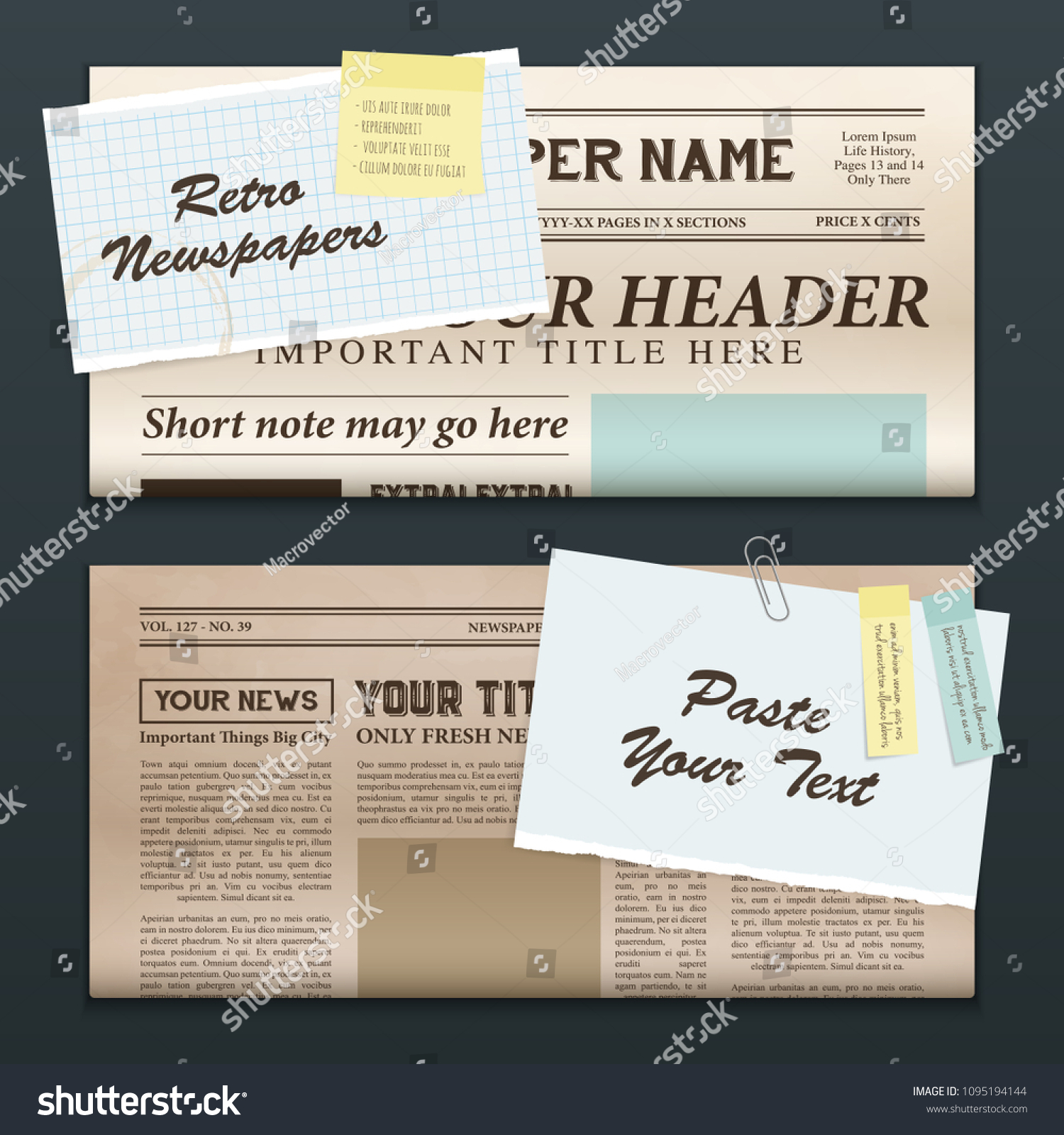 Vintage Newspapers Templates 2 Top Half Stock Vector Royalty Free