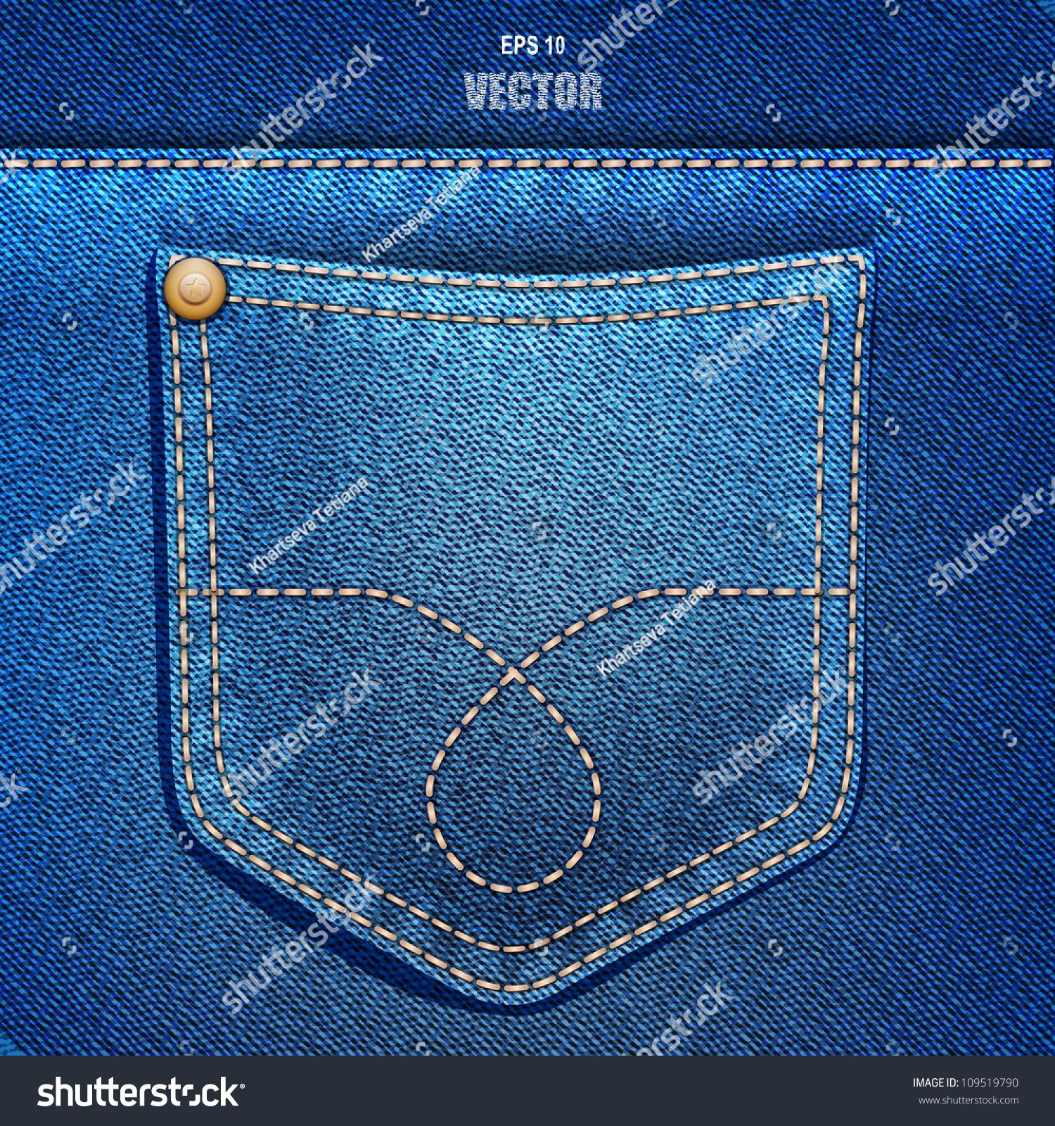 Jeans Pocket Denim Background Vector Eps Stock Vector 109519790 - Shutterstock