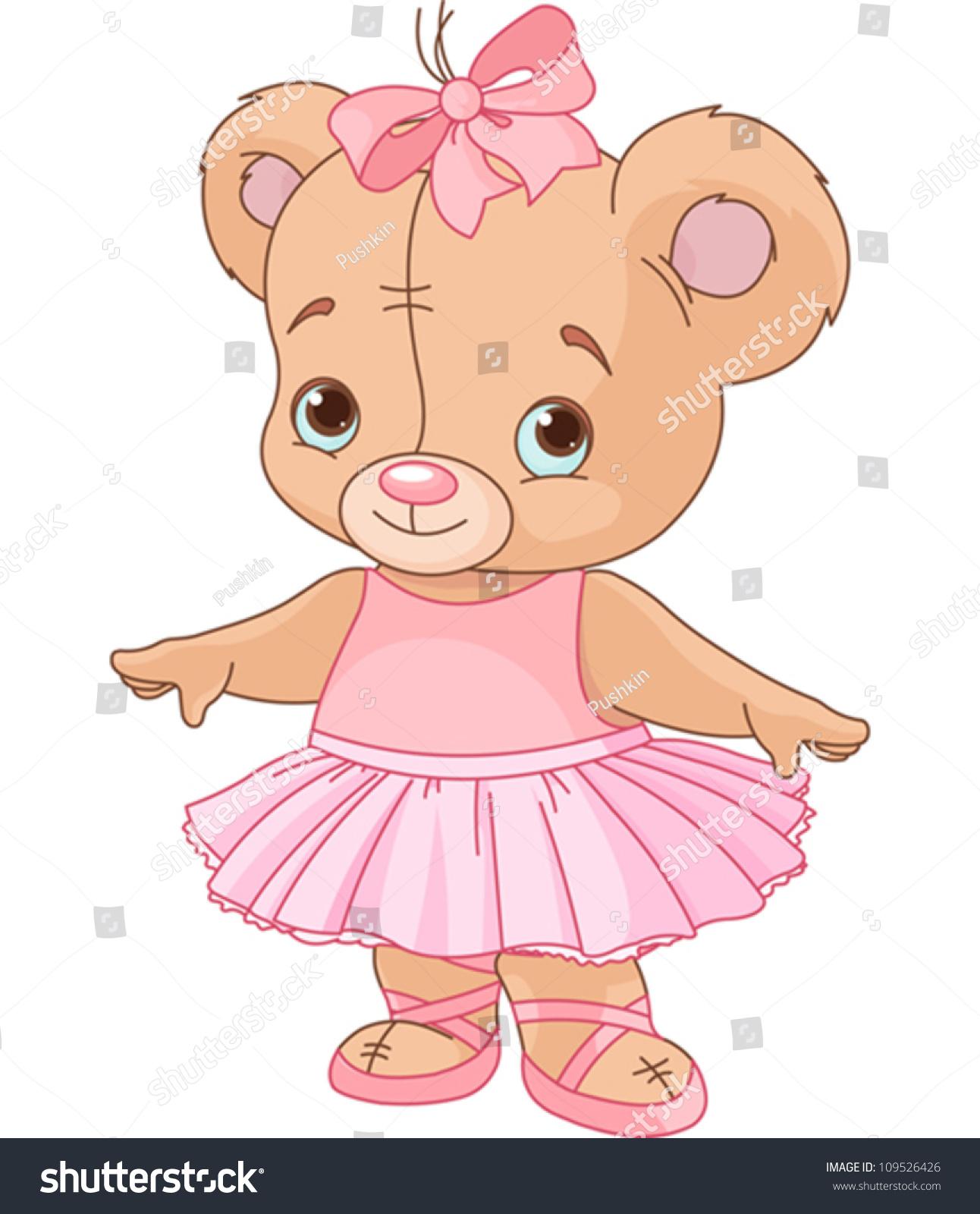 Very Cute Teddy Bear Ballerina Stock Vector 109526426 ...