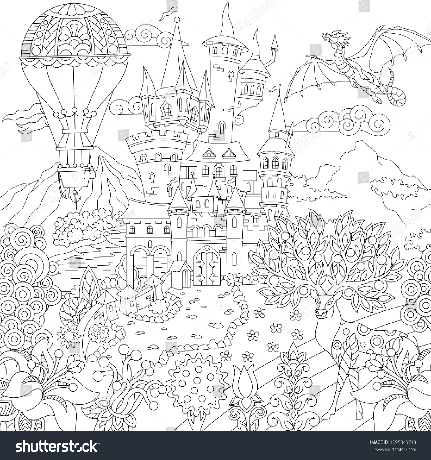 Fairy Tale Picture Fairytale Landscape Vintage Stock Vector Royalty