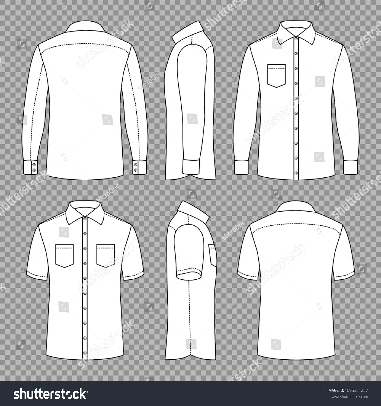 casual mans blank outline shirts short stock vector royalty free