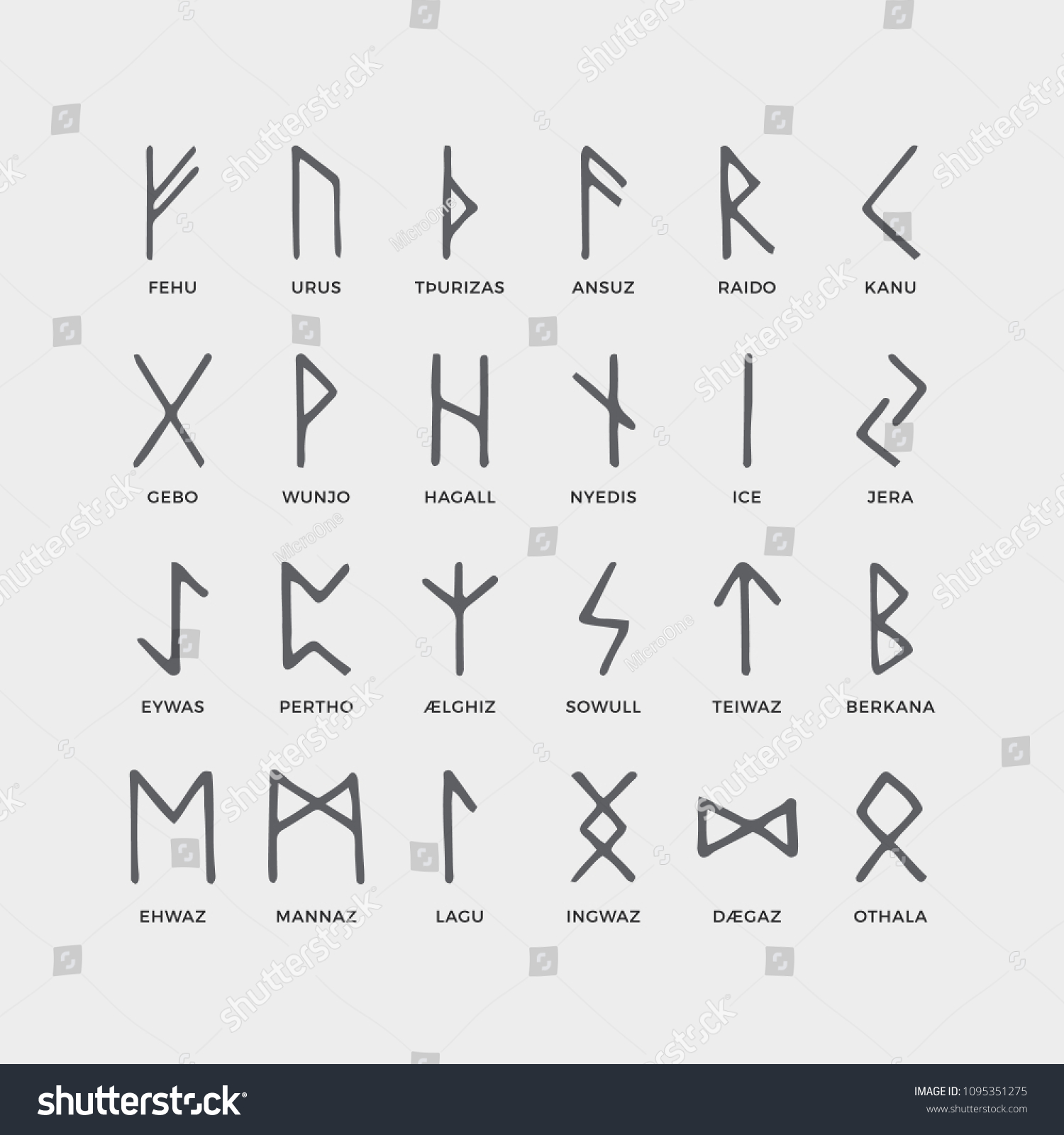 Retro Norse Scandinavian Runes Sketch Celtic Stock Vector Royalty
