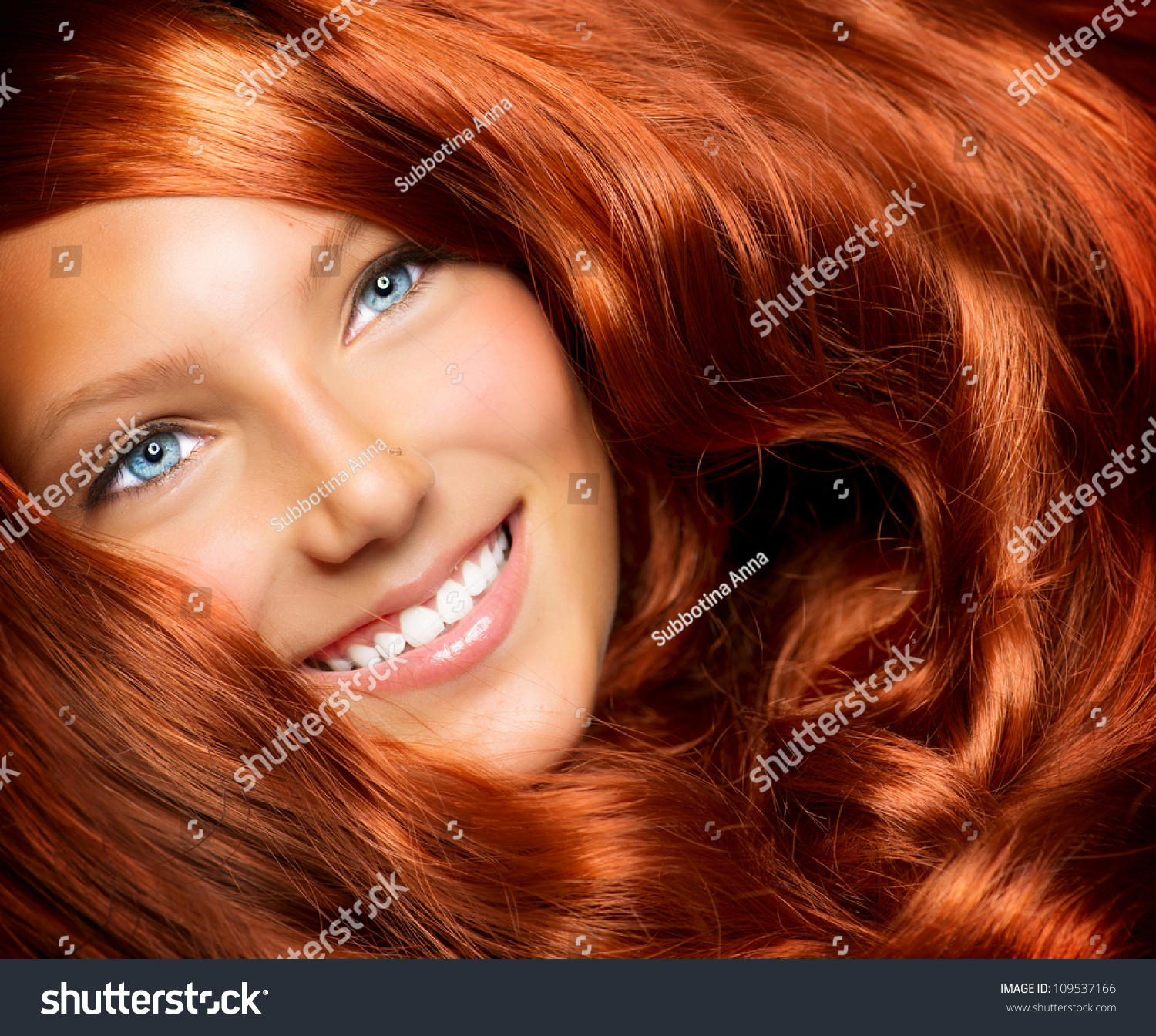 Hair Beauty Healthy Long Red Curly Stock Photo Edit Now 109537166