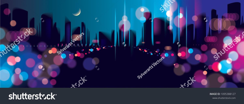Wide Panorama Blurred Street Lights Urban Stock Vector