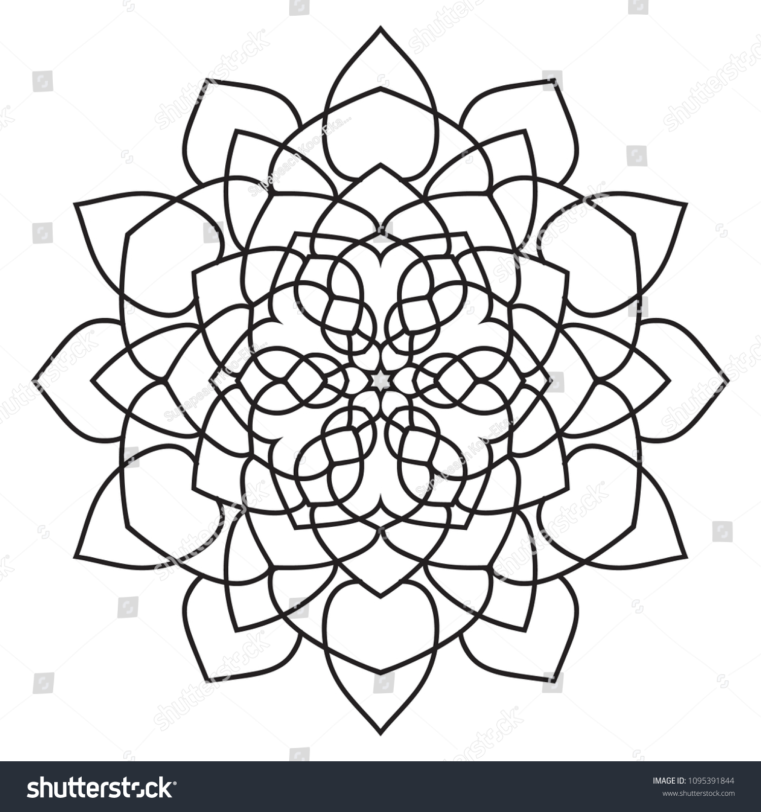 Easy Basic Mandala Coloring Book Pages Stockillustration 1095391844