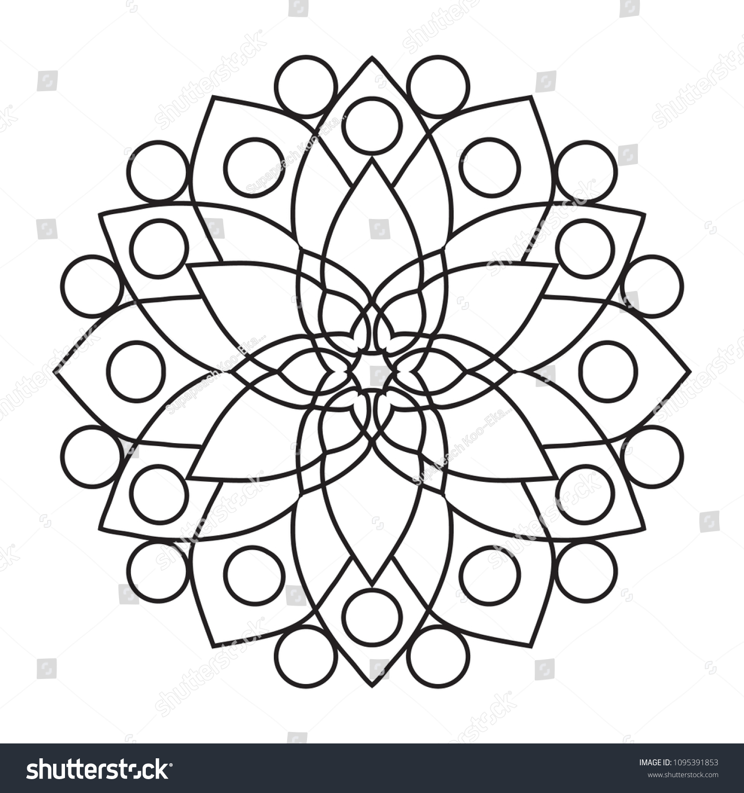 Easy Basic Mandala Coloring Book Pages Stock Illustration 1095391853