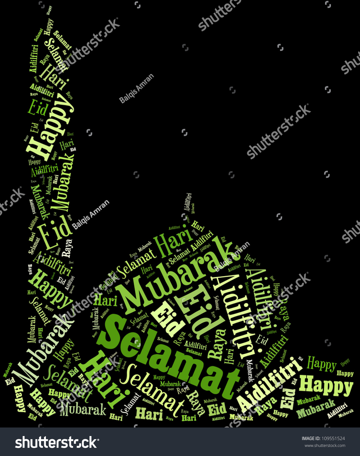 Stock Photo Info Text Eid Mubarak Greetings Composed In Mosque Shape Concept Black Background Shutterstock Hari Raya