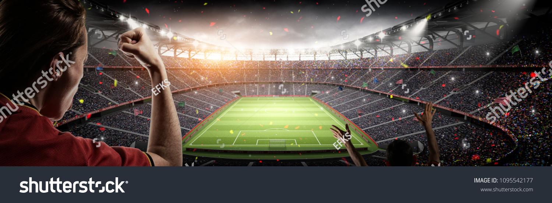 soccer fans vs 3d rendering stadium imaginary #1095542177