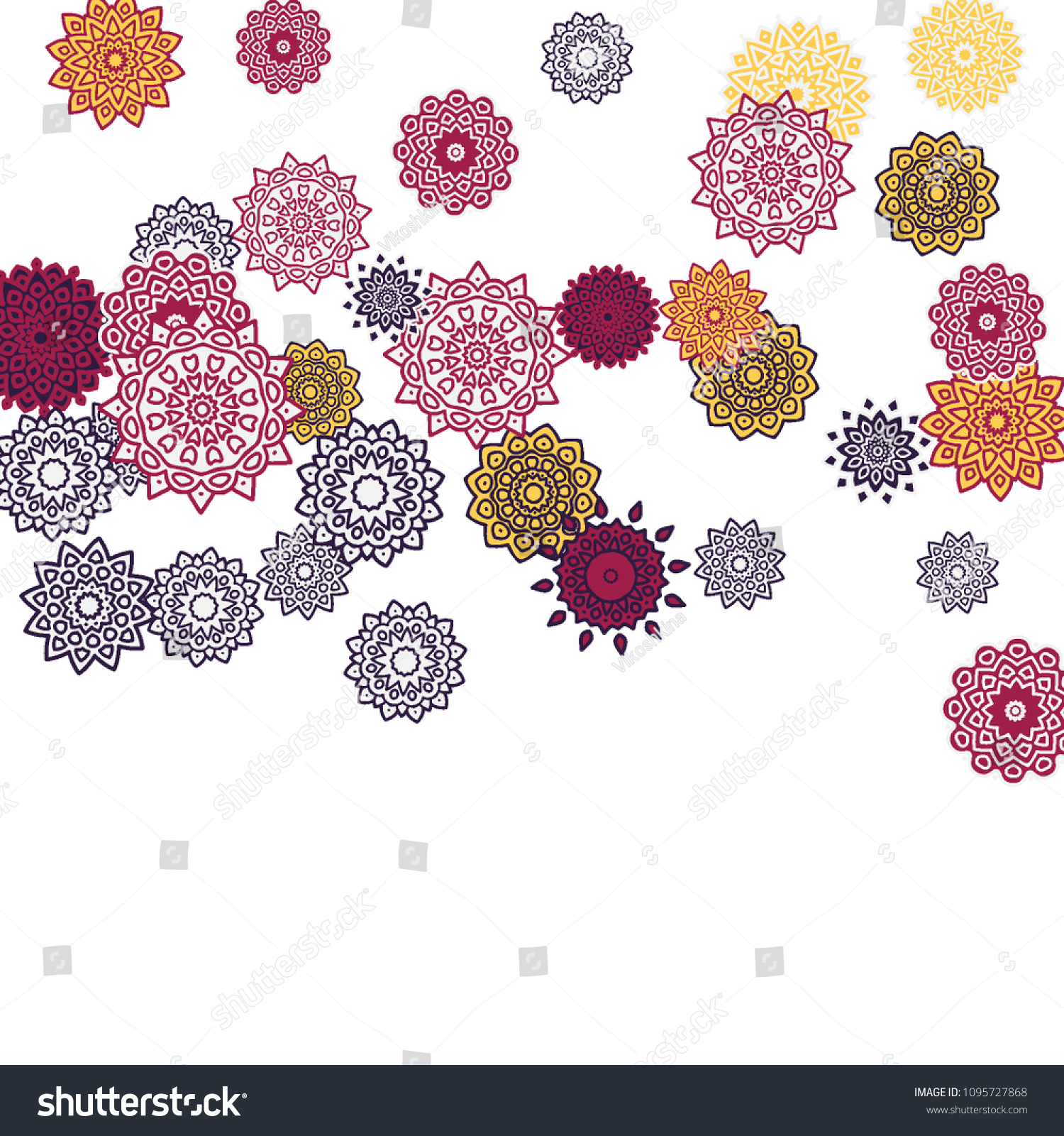 Ethnic Orient Background Simple Mandala Motives Stock Vector