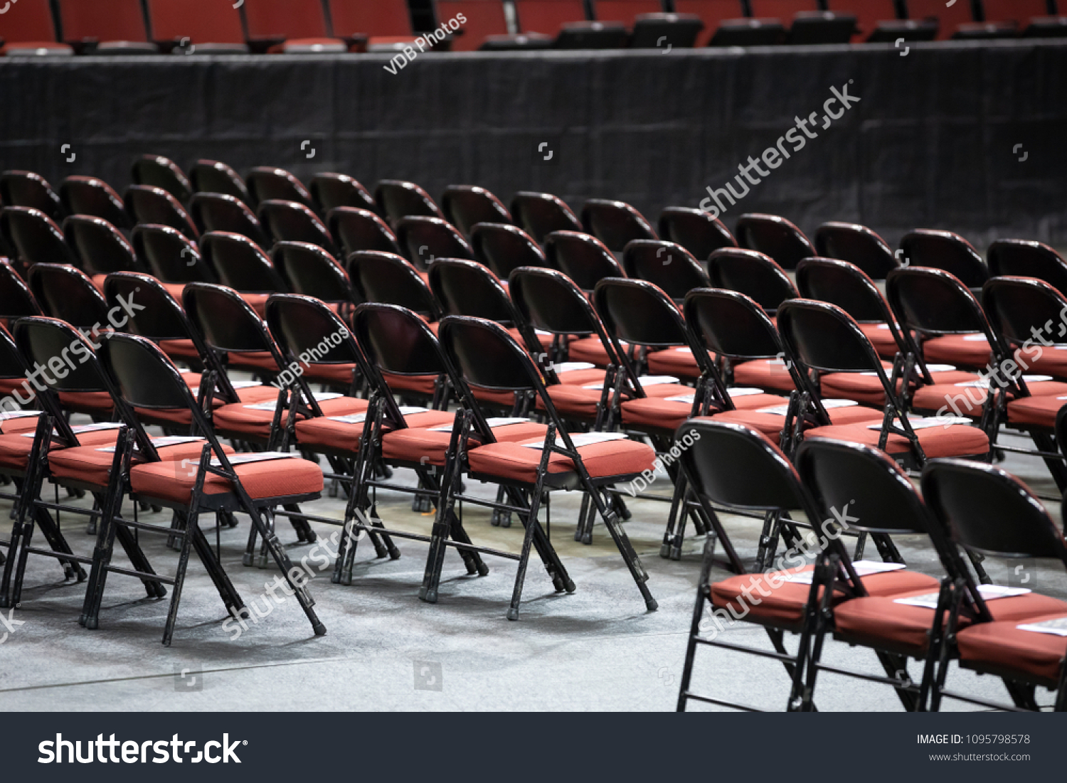 Side View On Rows Black Folding Stock Photo Edit Now 1095798578