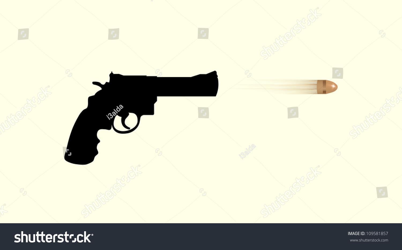 Gun Firing Bullet - Isolated Illustration - 109581857 ...