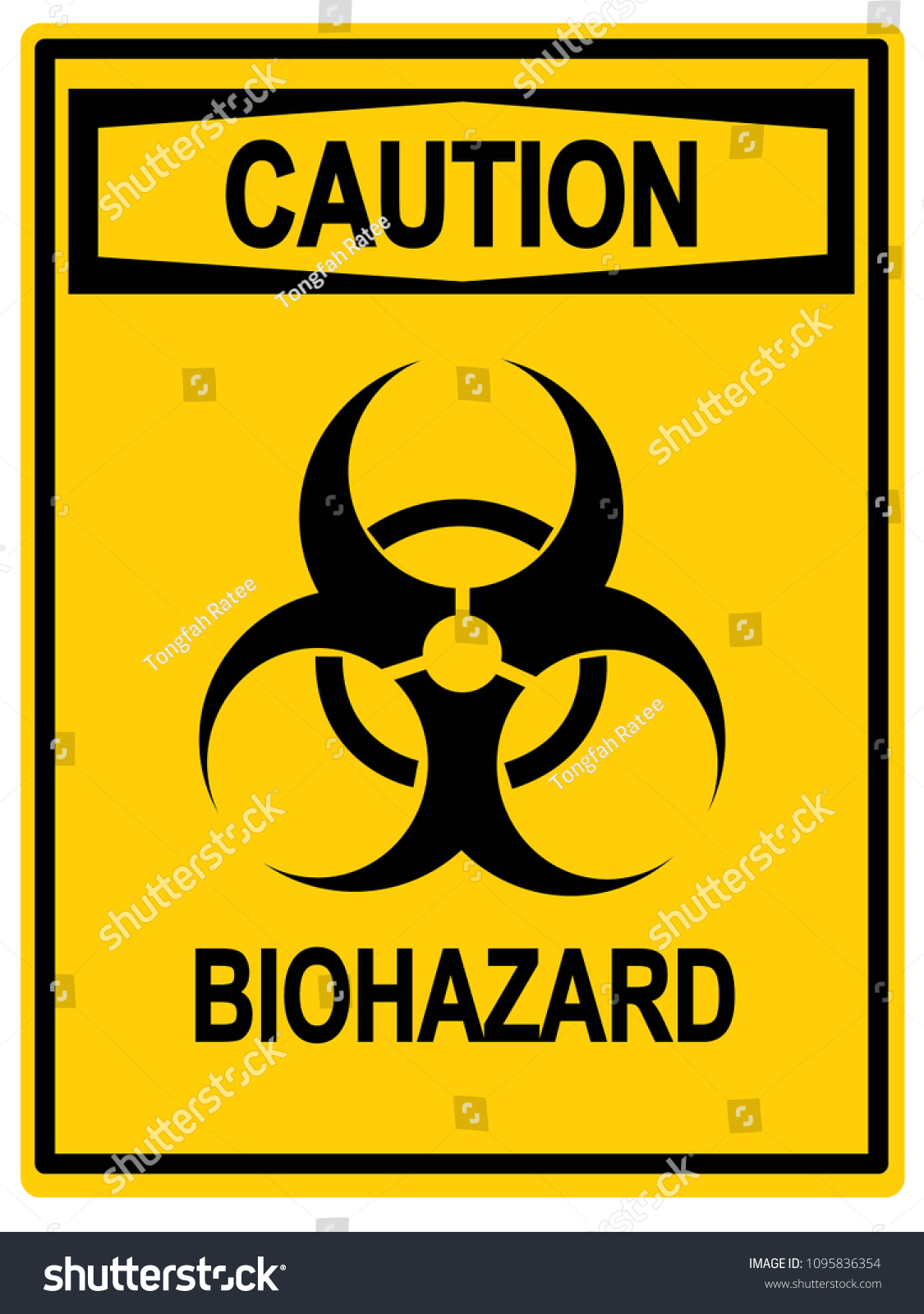 Biohazard Symbol Sign Caution Stock Illustration 1095836354