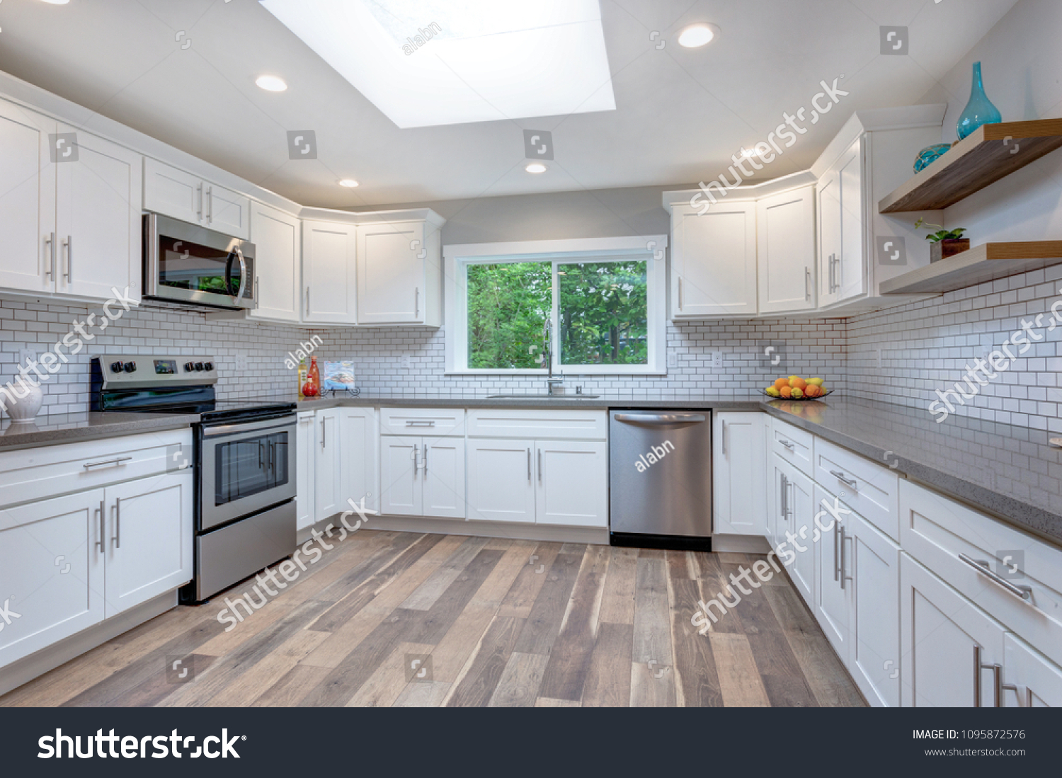 Open Concept Kitchen White Cabinets Grey Stock Photo Edit Now